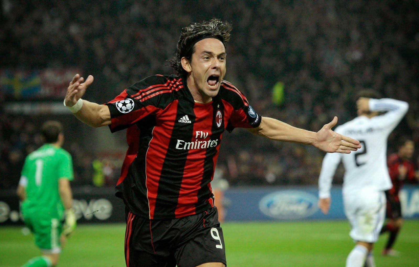 O efusivo Filippo Inzaghi comemorava cada gol como se fosse o ...